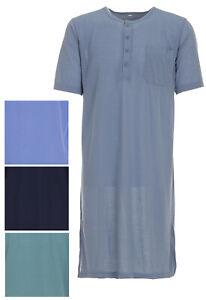 Herren Nachthemd kurzarm einfarbig Schlafshirt Pyjamaoberteil Größe M L XL XXL