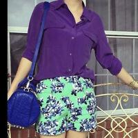 $230 Equipment Slim Signature Silk Shirt Purple