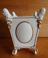 19TH C ENGLISH PORCELAIN JARDINIERE WITH FEMALE FIGURE HEADS  BALL AND CLAW FEET