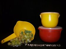 Tupperware Mixing Bowls ~4 cup YELLOW ~8c PAPRIKA + 1 Qt Strainer Colander Sieve