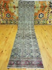 "Primitive Antique 1930-1940s Wool Pile 2'3""×9'8"" Muted Dye Runner Rug"