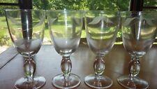 Etched Water Goblets glasses Leaf Design on Clear glass Grey Cut 4 12oz glasses