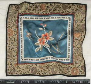 Vintage Silk Napkin Handkerchief Embroidered mjb