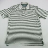 Under Armour Mens Golf Polo Shirt White Heatgear Large Short Sleeve Outdoor