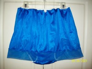 """ROYAL BLUE Nylon Tricot SLIP 5"""" SLEEVE PANTY Sheer Hem *30-44 Waist * Length 15"""""""