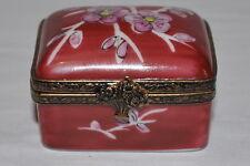Rare vintage Limoges porcelain hand painted trinket box peint main Blossom