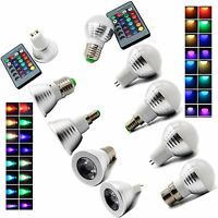3w MR16 E14 E27 GU10 B22 GU53 Lamp RGB LED 16 Color Light Bulb+IR Remote Control