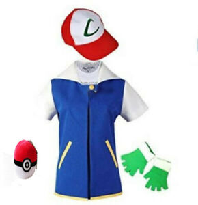 Adult Pokemon Ash Ketchum Trainer Costume Cosplay Shirt Jacket + Gloves + Hat
