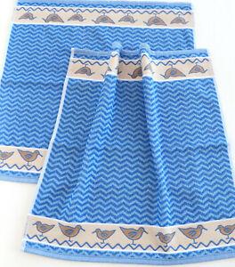 2x Handtücher Möwe Kracht Frottee Küche Tücher Maritim Ostsee Nordsee Welle Blau