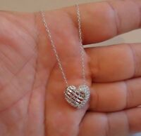 HEART NECKLACE PENDANT W/ 1.50 CT LAB DIAMONDS / 18''/925 STERLING SILVER