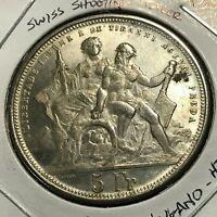 1883 SWITZERLAND  SILVER 5 FRANCS LUGANO HELVETIA SHOOTING TALER