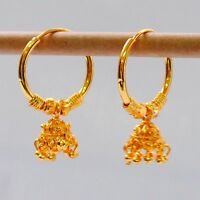 22 ct Gold Plated Earrings Indian Ethnic Jewellry Hoop Creole Earring y E9