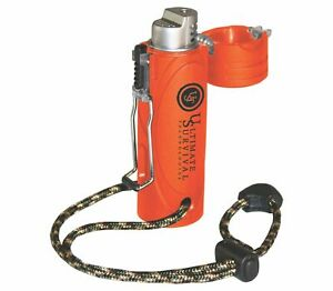 Stormproof Butane Lighter with Piezo-electric ignition Orange Rubberized Case