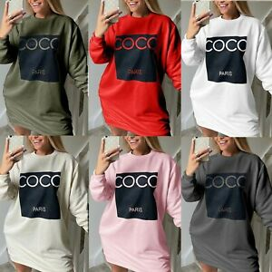 Ladies Womens COCO Print Baggy Oversize Side Pockets Sweatshirt Tunic Dress Top