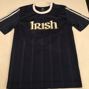adidas notre dame irish short sleeve soccer jersey navy blue and white Size S
