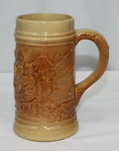 Vtg Hull Stein Alpine Village 492 Utility Wear Glazed Brown Beer Mug 1920s Early