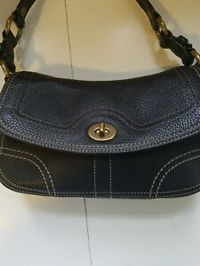Vintage Coach Black Pebbled Leather Toggle Handbag Satchel 60793
