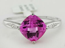 GENUINE 2.35 Cts PINK SAPPHIRE & GENUINE DIAMONDS RING .925 sterling silver *NWT