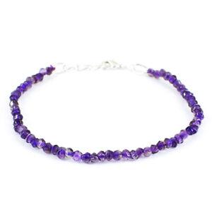 "25.00 Cts Natural 7"" Long Purple Amethyst Round Cut Beads Bracelet NK 50E72"