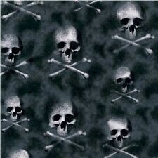 Skeleton Skulls Crossbones Ghostly Bones Glitter Black Cotton Fabric Fat Quarter