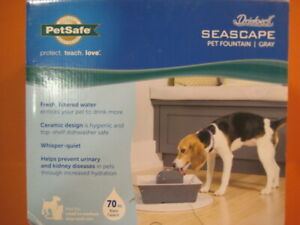 Ceramic Seascape Fountain 70 oz Gray Pets Cats Small-Med Dogs PetSafe Drinkwell