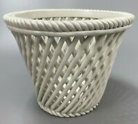 "Lattice Basket Weave Porcelain Woven Basket- China Ceramic Mint- 5.5"" Tall"