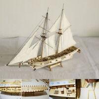 NE_ Am_ 1:100 Scale Mini Wooden Sailboat Ship Kit Boat Toy Gift DIY Model Decora