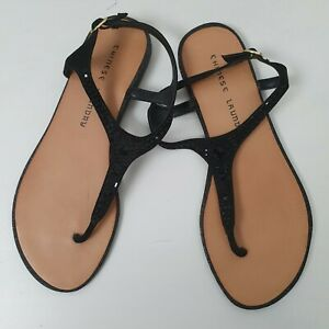 Chinese Laundry Sparkly Black Toe Sandals Sz 7