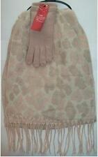 New Womens M&S Pale Pink Floral Scarf & Gloves Set One Size