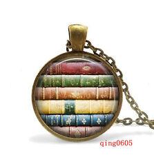 Vintage Cabochon Tibetan Bronze Glass Chain Pendant Necklace book #z39