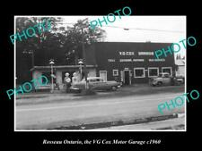 OLD LARGE HISTORIC PHOTO OF ROSSEAU ONTARIO CANADA THE COX MOTOR GARAGE c1960