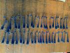"""Vintage Victorian set 40 cobalt Blue Teardrop Prisms 3.25"""" c1900s"""