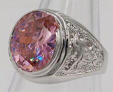MEN RING PINK SAPPHIRE SILVER 18K WHITE GOLD FILLED GP DRAGON SOLITAIRE SZ 9.75