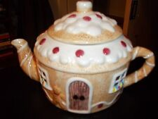 "WHIMSICAL GINGERBREAD HOUSE TEA POT 7"" TALL CHRISTMAS TEAPOT TABLE DECOR HOLIDAY"
