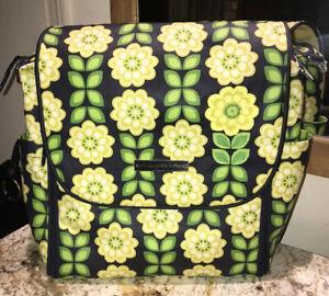 Petunia Pickle Bottom Blue Daisy Baby Backpack Diaper Yellow Green Bag Purse EUC