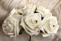 6 Ivory Diamante PolyFoam Quality Roses 5/6cm Wedding Flowers, Table Decorations