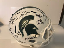 2017 Michigan State Spartans team signed WHITE full size football helmet Lewerke