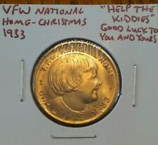 VFW National Home Christmas 1933 Help The Kiddies Good Luck To You Coin #AA506