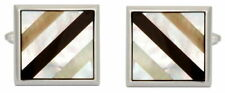 Mother of Pearl Rhodium Plated Square Cufflinks for Men