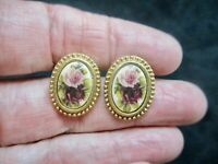 "Vintage-Gold Tone ""1928 Jewelry"" Rose Motif Pierced Earrings"