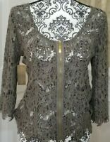 ANNA GRACE Women's Long Sleeves Hunter Green Laced Top Size L. (0070) D1