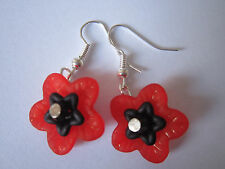 Drop / Dangle Earrings - Red / Black  - Small Poppy / Flowers - Silver Plated