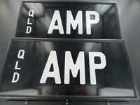 .RARE QUEENSLAND REGO NUMBER PLATE  AMP  NEVER FITTED, NEAR MINT, FRONT & BACK