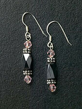 Silver Magnetic Hematite Beaded Dangle Earrings Purple Crystals Free Shipping