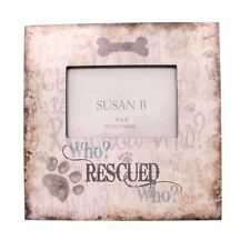 """WHO RESCUED WHO? Rescue Pet Dog Adoption Wooden Frame 10"""" x 10"""" for 4 x 6"""" Photo"""