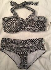 NWT Size Large D Cup NEW DIRECTIONS SWIMSUIT BIKINI 38D Black White Geom $96