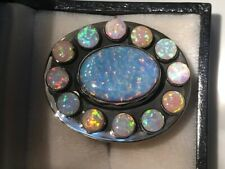 Massive Messianic Hebrew 12 tribes Black Opal Ring Rare Crosses on band 8 Israel
