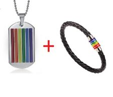 Rainbow Dog Tag Necklace and Bracelet Pride Lesbian Gay LGBT Stainless Steel UK