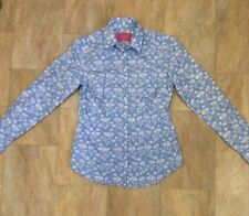 Charles Tyrwhitt Long Sleeve Cotton Shirt Blue And White Foral Pattern Size 6