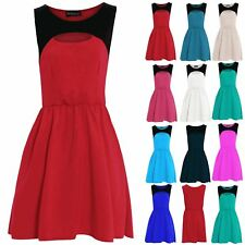 Womens Pleated Skater Ladies Celebrity Office Summer Cut Out Flared Franki Dress